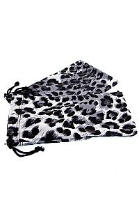 White Leopard Fabric Sunglass Holder                    0-leopard