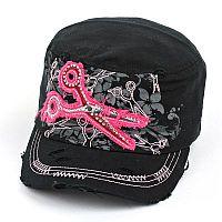Black Pink Rhinestone Scissor Hat             #AH-KBV-981BLK