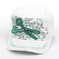 White Mint Rhinestone Scissor Hat          #AH-KBV-981WH