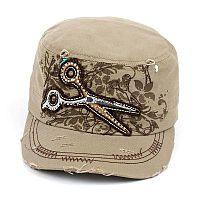 Khaki Tan Rhinestone Scissor Hat  #AH-KBV-981KH