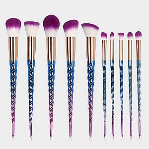 10pc. Mermaid Twisted Make Up Brush Set   #W-twisted