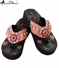 Montana West Rhinestone Orange Round Beaded Flip Flops  #YKT-S096OR