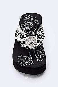 Rhinestone Zebra Star Flip Flops                        #FG-13