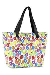 Multi Colored Lip Kiss Tote Bag    #FG-SKiss