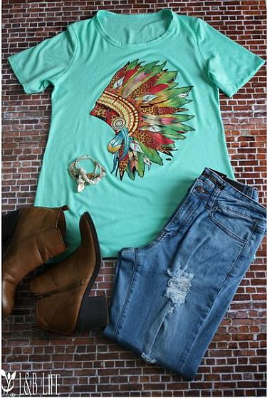 Mint Indian Head Dress Soft Shirt    #LB-3314