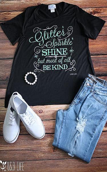 Black Glitter Sparkle Shine Soft T-shirt   #LB-3320