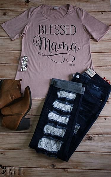 Mauve Soft T-Shirt Blessed Mama     #LB-3323
