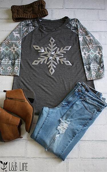 Gray Snowflake Holiday Shirt    #LB-3328