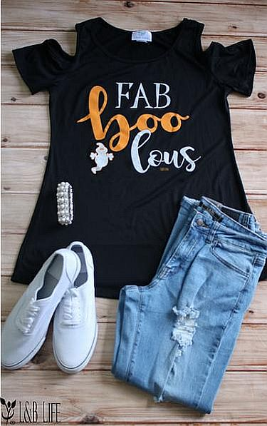 "Black Cold Shoulder Fab ""Boo"" Lous Shirt  #LB-3342"
