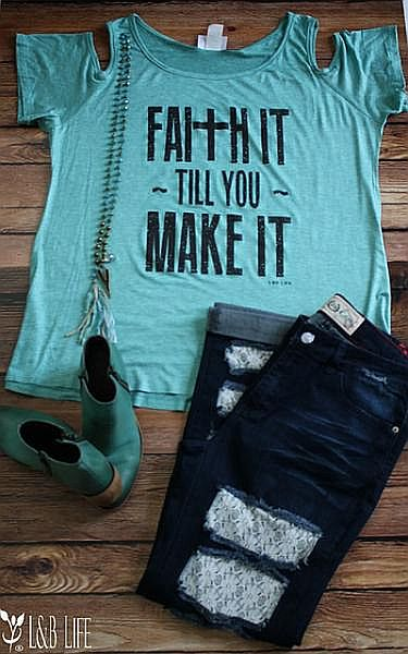 Turquoise Faith It Till You Make It Cold Shoulder  #LB-3343