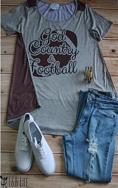 Gray Football Back God County & Football Shirt    #LB-3344