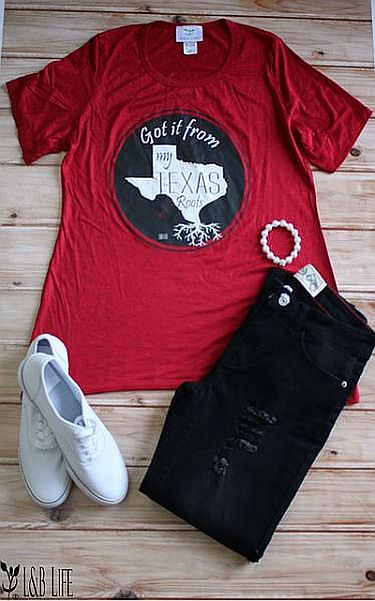 Red Soft Got It From My Texas Roots Tee  #LB-3345