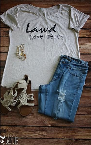 Beige Dolman Lawd Have Mercy Shirt    #LB3347