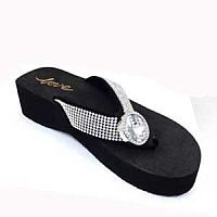 New Rhinestone Round Clear Flower Love Flip Flops      #LOVE15