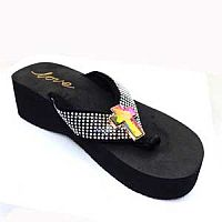 New Rhinestone Multi Colored Cross Love Flip Flops   #LOVE12