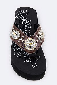 Rhinestone Brown Multiple LongHorn Flip Flops            #FG-46
