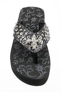 Rhinestone Metallic Black Fleur De Li's Flip Flops            #FG-49
