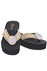 New Rhinestone Gold Oval Gem Love Flip Flops       #LOVE