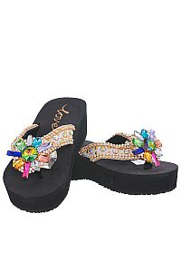 New Rhinestone Gold Multi Colored Large Flower Love Flip Flops    #LOVE16