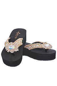 New Rhinestone Gold Large Gem Love Flip Flops        #LOVE17
