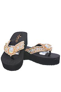New Rhinestone Gold Large Oval Gem Love Flip Flops  #LOVE18