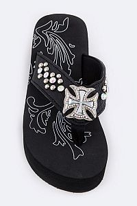 Rhinestone Black Chopper Cross Flip Flops            #FG-52