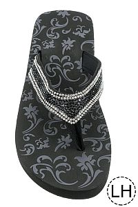 Black Crystal Low Height Flip Flops            #FG-61