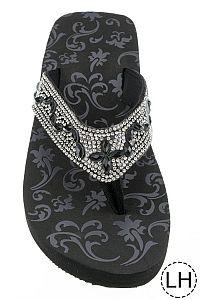 Silver Black Crystal Low Height Flip Flops                 #FG-63