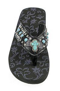 Rhinestone Black Turquoise Cross Flip Flops                 #FG-67