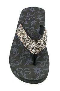 Rhinestone Brown Leopard Cross Flip Flops                 #FG-68