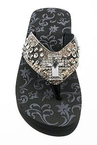 Rhinestone Brown Cross Flip Flops                 #FG-70