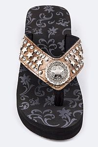 Rhinestone Brown Multiple Star Flip Flops     #FG-71