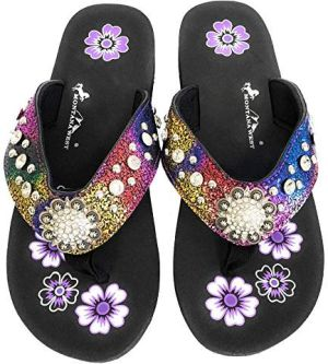 New Montana West Purple Rainbow Flat Thin Flip Flops #MW-PPRAINBOW2