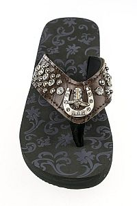 Rhinestone Dark Brown Horseshoe Boot Flip Flops       #FG-91