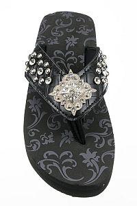 Rhinestone Black Silver Concho Flip Flops     #FG-93