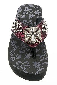 Rhinestone Burgundy Wine Chopper Cross Flip Flops   #FG-94