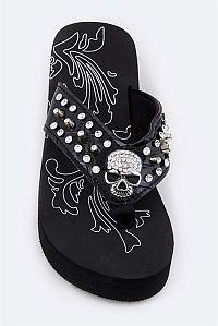 Rhinestone Black Scull Flip Flops                                        #FG-AGF50