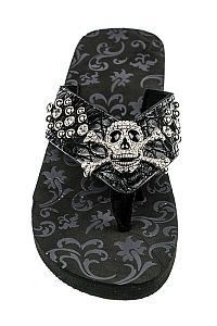 Rhinestone Brown Scull With Bones Flip Flops     #FG-AG65BLK