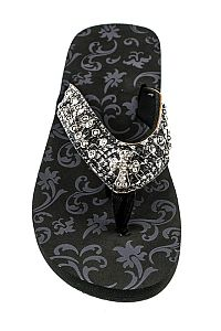 Rhinestone Black Metallic Small Cross Flip Flops  #FG-AG68Cross