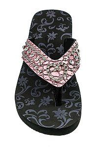 Rhinestone Pink Heart Flip Flops      #FG-AG89Pink