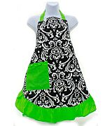 Green Damask Apron                #LU-GreenDamaskApron