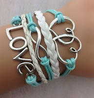 Light Turquoise Double Heart Infinity Love Bracelet