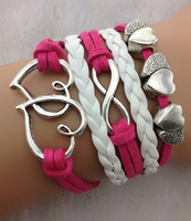 Hot Pink Double Hearts Infinity Charm Bracelet