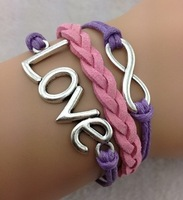 Purple Pink Leather Love Infinity Charm Bracelet