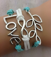 Turquoise White Love Leaf Infinity Charm Bracelet