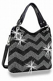 Black Wide Chevron Rhinestone Handbag         #HE-BAH-1107-BK