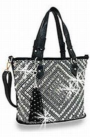 Black Rhinestone Design Handbag      HE-BHD-1350-BK