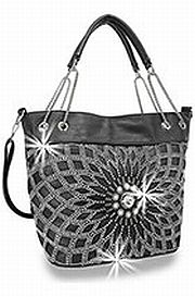 Black Rhinestone Large Flower Handbag       HE-BHD-421-BK