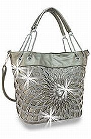 Pewter Rhinestone Large Flower Handbag       HE-BHD-421-PW