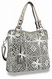 Pewter Rhinestone Crochet Look Handbag       # HE-BHD-6125-PW